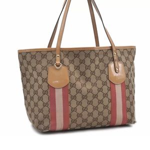 Authentic GUCCI brown canvas tote with pink